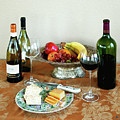 Still Life With Wine And Fruit Cheese Picture Interior Design Decor by John Samsen
