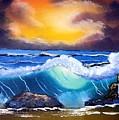 Stormy Sunset Shoreline by Dina Sierra