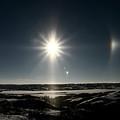 Sun Dogs Besides Settig Sun by Mark Duffy