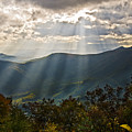 Sun Rays Linville Falls Nc by Michael Whitaker