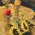 Sunflowers And Apples by Jean Blackmer