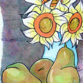 Sunflowers And Pears by Loretta Nash
