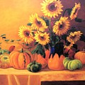 Sunflowers And Squash by Jeanene Stein