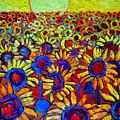 Sunflowers Field At Sunrise by Ana Maria Edulescu