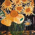 Sunflowers In Clear Vase by Brenda Adams