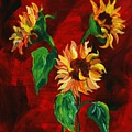 Sunflowers On Rojo by Melinda Etzold