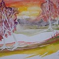 Sunrise Surreal Modern Landscape Painting Fine Art Poster Print by Derek Mccrea