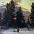 Sunset Over A Winter Landscape by Abram Efimovich Arkhipov
