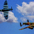 Supermarine Spitfire Mk1 And Avro Lancaster - Oil by Tommy Anderson