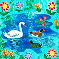 Swan And Two Ducks by Sushila Burgess