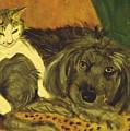 Terrier Mix And Feline Friend by Karen McNamara