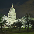 Texas State Capitol Building In Austin At Night by Andre Babiak