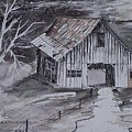 The Barn Country Pen And Ink Drawing by Derek Mccrea