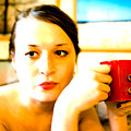 The Girl With A Red Cup  by Vadim Grabbe