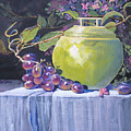 The Green Pot And Grapes by Heather Coen