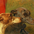 The Greyhounds Charley And Jimmy In An Interior by John Frederick Herring Snr