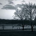 The Ice Skaters...kirby Park Pond Kingston Pa. by Arthur Miller