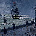 The Jetty At Le Havre In Bad Weather by Claude Monet