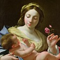 The Virgin And Child With A Rose by Simon Vouet