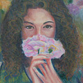 The Vision Romantic Figurative Floral Pastel Painting by Wendy Middlemass