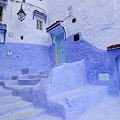 Three Blue Doors In Chefchaouen  by Liz Pinchen