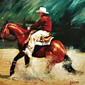 Tk Enterprise Sliding Stop Reining Horse Portrait Painting by Kim Corpany