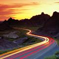 Traffice On Highway, Sunset (long Exposure) by Glen Allison