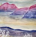 Tranquility 2 Mountain Modern Surreal Painting Print by Derek Mccrea