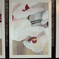 Triptic White Orchids On Light Background by Catt Kyriacou