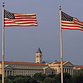 Two American Flags With Old Post Office Building by Sami Sarkis