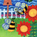 Two Bees With Red Flowers by Genevieve Esson