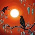 Two Crows On Mossy Branches by Laura Iverson