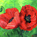 Two Red Poppies by Laura Iverson