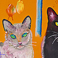 Two Superior Cats With Wild Wallpaper by Charles Stuart