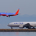 United Airlines And Southwest Airlines Jet Airplane At San Francisco International Airport Sfo.12087 by Wingsdomain Art and Photography