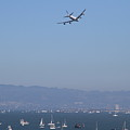 United Airlines Boeing 747 Over The San Francisco Bay At Fleet Week . 7d7860 by Wingsdomain Art and Photography