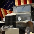 United States Army Truck And American Flag  by Anne Kitzman