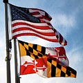 Us And Maryland Flags by William Kuta