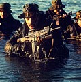 Us Navy Seal Team Emerges From Water by Everett