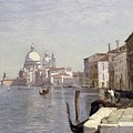 Venice - View Of Campo Della Carita Looking Towards The Dome Of The Salute by Jean Baptiste Camille Corot