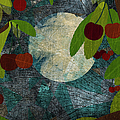 View Of The Moon And Cherries Growing On Trees At Night by Jutta Kuss