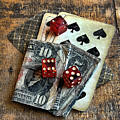 Vintage Cards Dice And Cash by Jill Battaglia