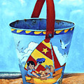 Vintage Tin Sand Bucket by Portraits By NC