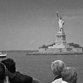 Visiting Lady Liberty Bw by David Coblitz