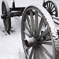 Wagon Wheels In Snow by Linda Drown