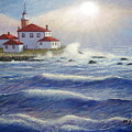 Watch Hill Lighthouseri In Breaking Sun by William H RaVell III