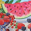 Water-melon And Berries Still Life. by Natalia Piacheva