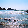 Waves On The Mid Beach Rocks At Zipolite  by Lyle Crump