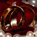 Wedding Bands And Rose Petals by Tracie Kaska