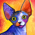 Whimsical Sphynx Cat Painting by Svetlana Novikova